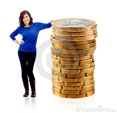 Woman with euro coins