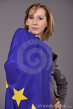 Woman with european flag