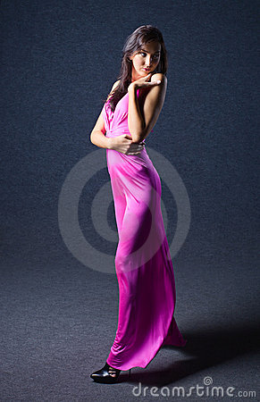 Woman in evening dress.
