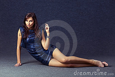 Woman in evening dress.