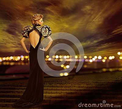 Free Woman Evening Dress, City Night Lights, Fashion Model Gown Royalty Free Stock Photo - 56016435