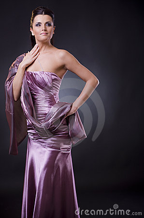 Woman in evening dress with stole