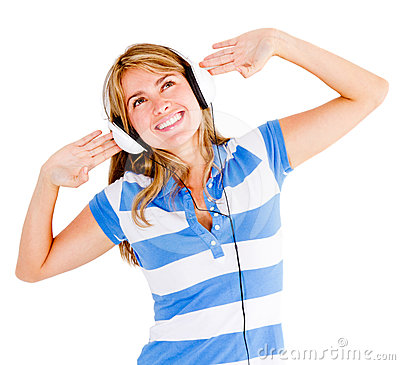 Woman excited about music