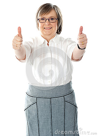 Woman executive  showing double thumbs-up