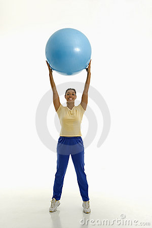 Woman with exercise ball.