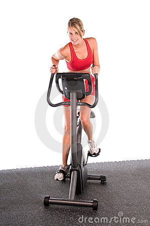 Woman on Exercise Bike