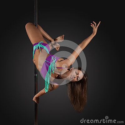 Free Woman Exercise Pole Dance On Gray Background Stock Image - 59323051