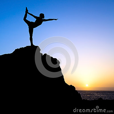 Free Woman Exercise Yoga Silhouette Royalty Free Stock Photography - 41641797