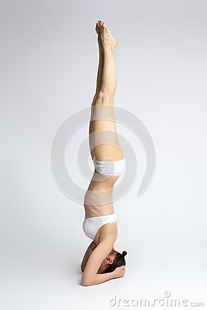 woman exercise yoga supported headstand royalty free stock
