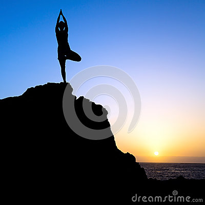 Free Woman Exercise Yoga Tree Sunset Silhouette Stock Images - 41641834