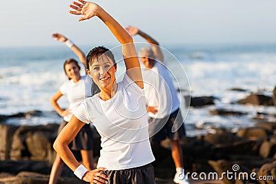 Woman exercising family