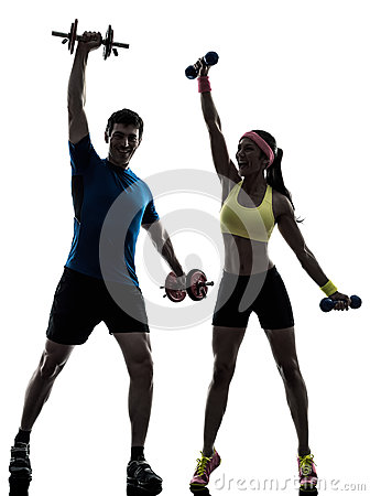 Free Woman Exercising Fitness Workout With Man Coach Stock Photography - 32589282