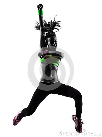Free Woman Exercising Fitness Zumba Dancing Jumping Silhouette Stock Photos - 46700963