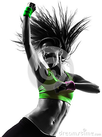 Free Woman Exercising Fitness Zumba Dancing Silhouette Royalty Free Stock Images - 34270109