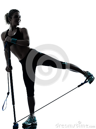 Woman exercising gymstick fitness workout