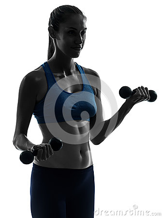 Woman exercising weight training portrait