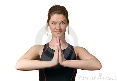 Woman Exercising Wellbeing w/ Yoga Fitness