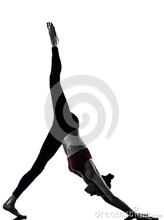 Woman exercising yoga  Adho Mukha Svanasana