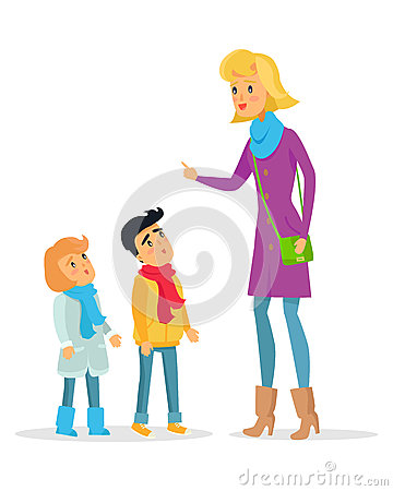 Free Woman Explaining Rules For Attentive Children Royalty Free Stock Photo - 87956285