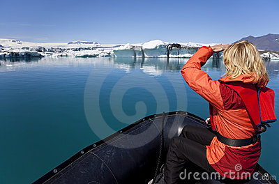 Woman Explorer in Iceberg Field, Iceland