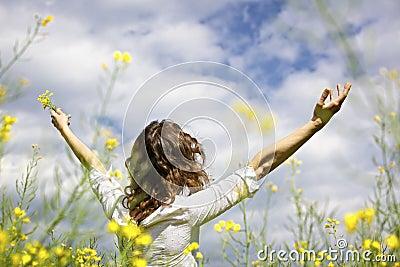 Woman expressing gratefulness