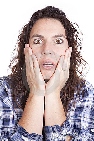 Woman expression blue hands face