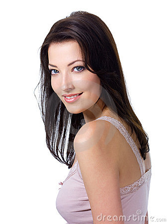 Woman with expressive look and charmiing smile