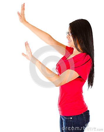 Woman with extended arms