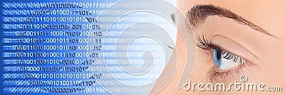 Woman eye on blue technology e-mail background