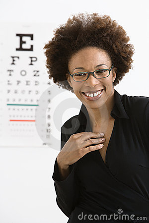 Woman with eye chart
