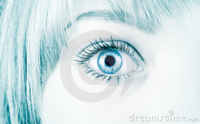 Woman eye in hi-tech style
