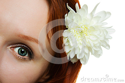 Woman eye with natural looking makeup