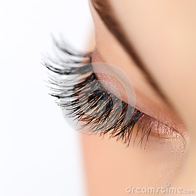 Free Woman Eye With Long Eyelashes. Eyelash Extension Stock Image - 38817901