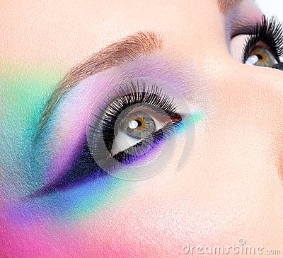 Woman Eyes With Beautiful Fashion Bright Blue Makeup ... Bright Blue Eyes Close Up Tumblr