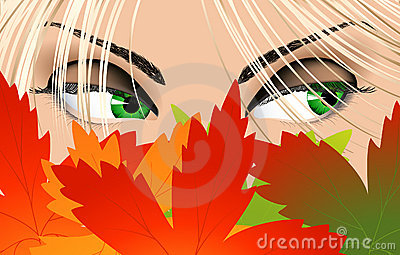 Woman eyes looking from under leaf