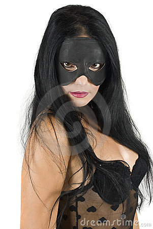 Woman face with black mask