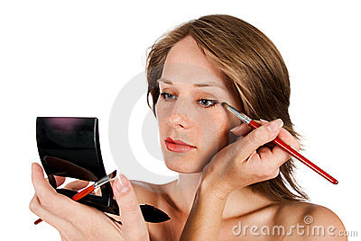 Woman face with brush