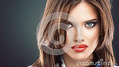 Woman face close up beauty portrait.