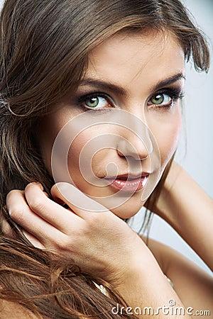 Woman face close up beauty portrait. Female model