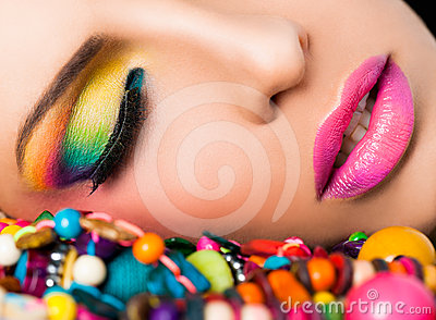 Woman face colourful make-up lips