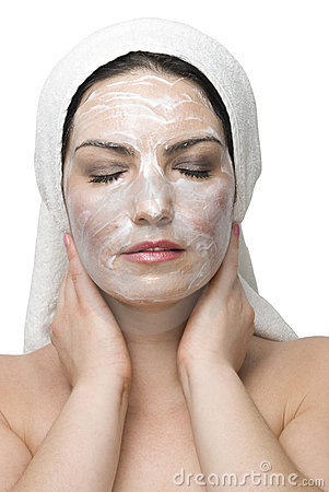 Woman face cream mask