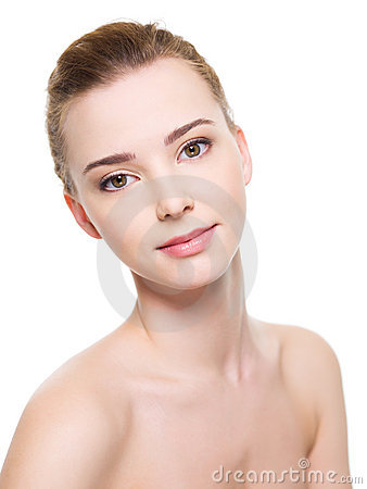 Woman face with fresh clean skin