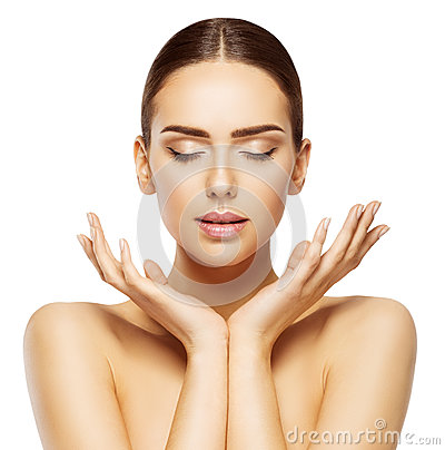 Free Woman Face Hands Beauty, Skin Care Makeup Eyes Closed, Make Up Royalty Free Stock Photography - 87294307