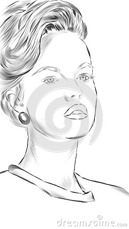 Stock Illustration Woman Face Illustrated Black White Image61270314