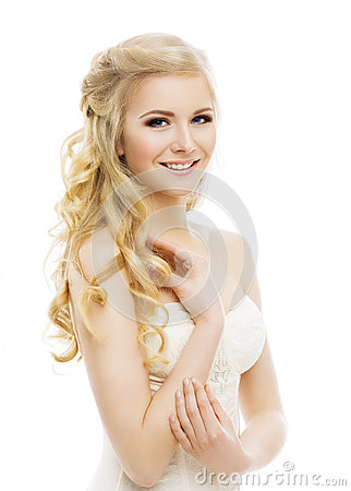 Free Woman Face Makeup, Long Curly Blond Hair, Model Make Up, White Stock Images - 65520754