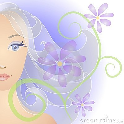 Free Woman Face Portrait Flowers Royalty Free Stock Image - 2848606
