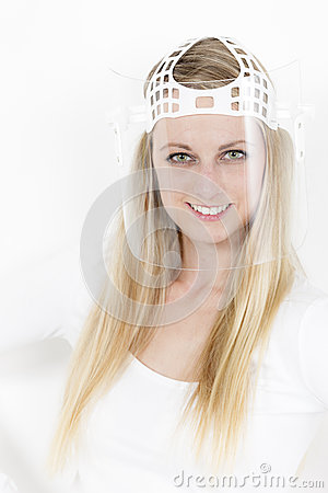 Woman with face protective shield