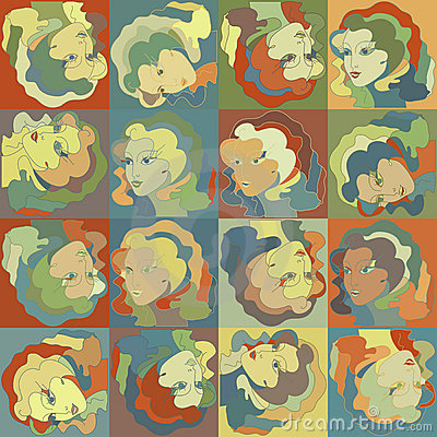 Woman face - retro style, seamless pattern. EPS 8
