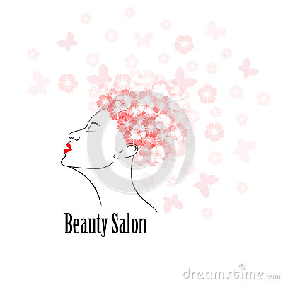 Woman face silhouette abstract design concept for fashion for Abstract beauty salon