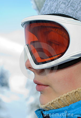 Woman face in ski mask